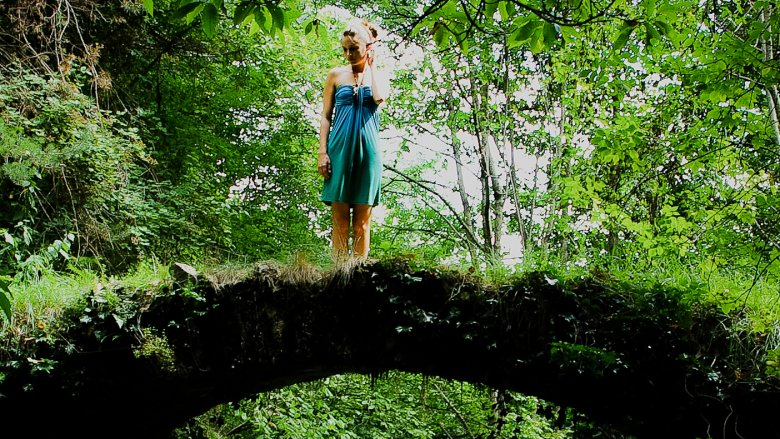 natural bridge, woman