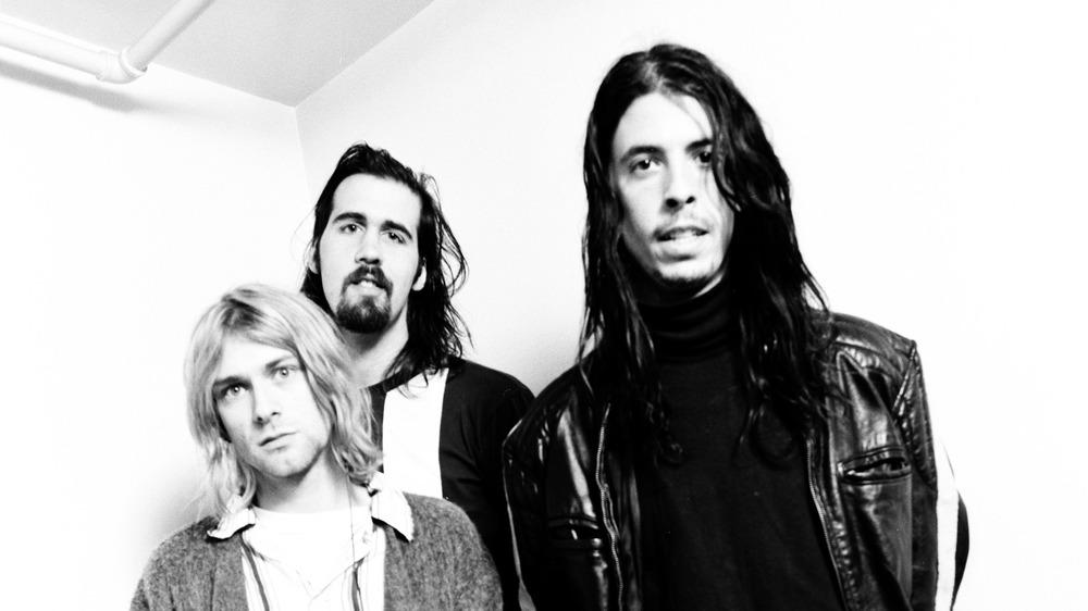 Nirvana posing for a photo shoot, circa 1992