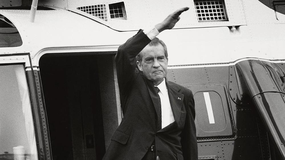 Richard Nixon waves goodbye