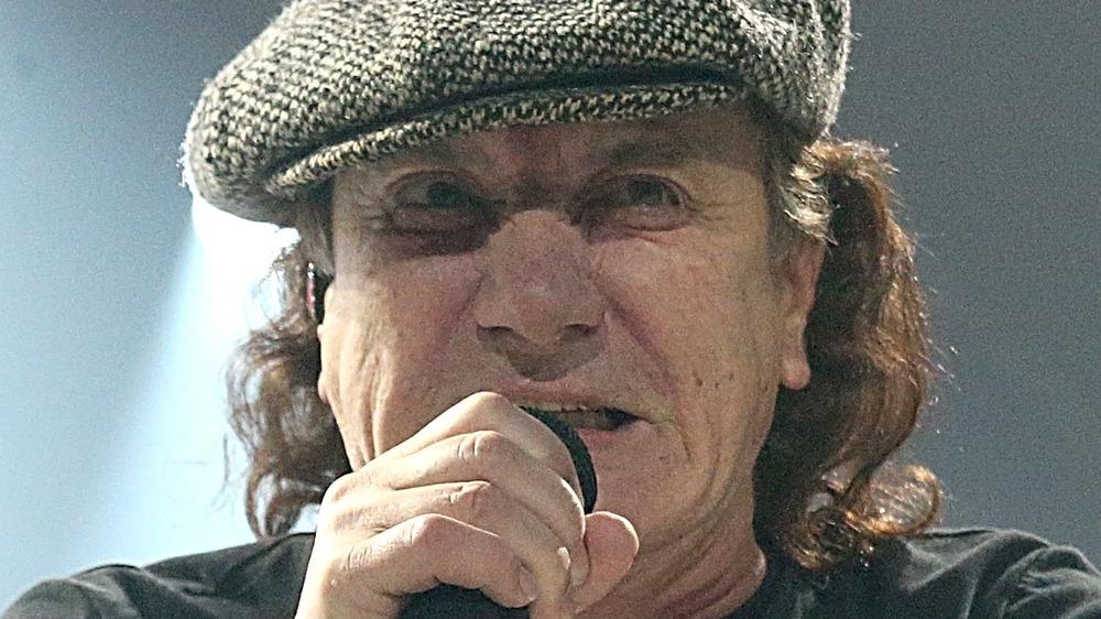 Brian Johnson of AC/DC singing