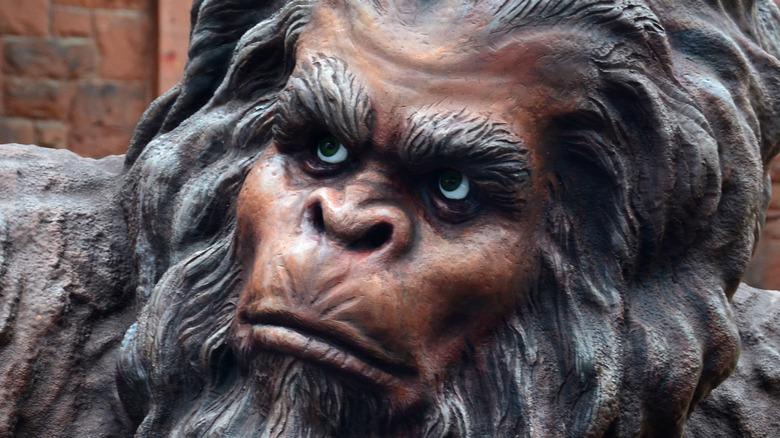 Close up of a Sasquatch statue