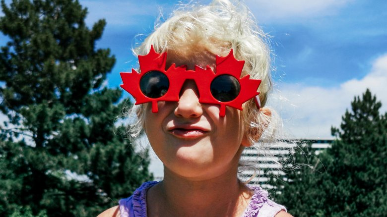 girl, Canadian maple leave sunglasses