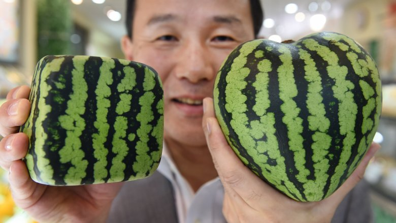 square and heart watermelon