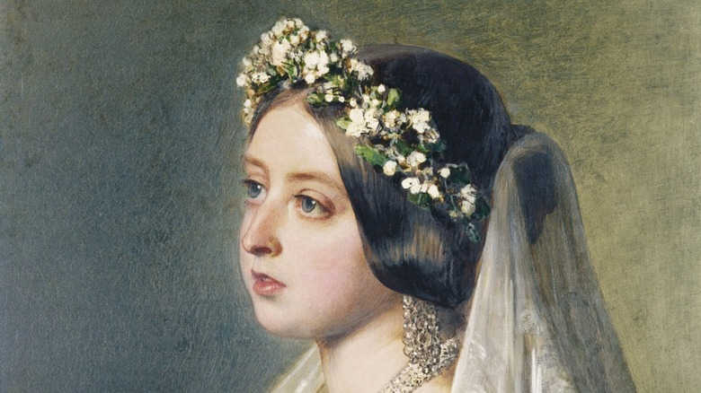 painting of Queen Victoria in flowered veil