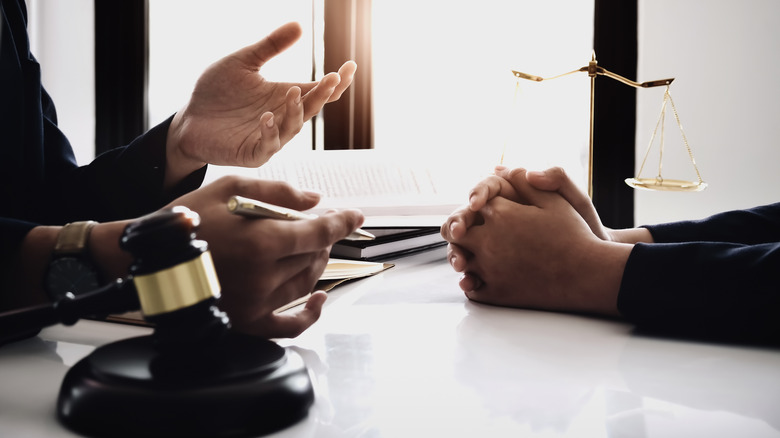 judge and lawyer hands