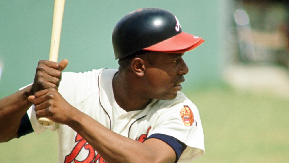 Hank Aaron at bat