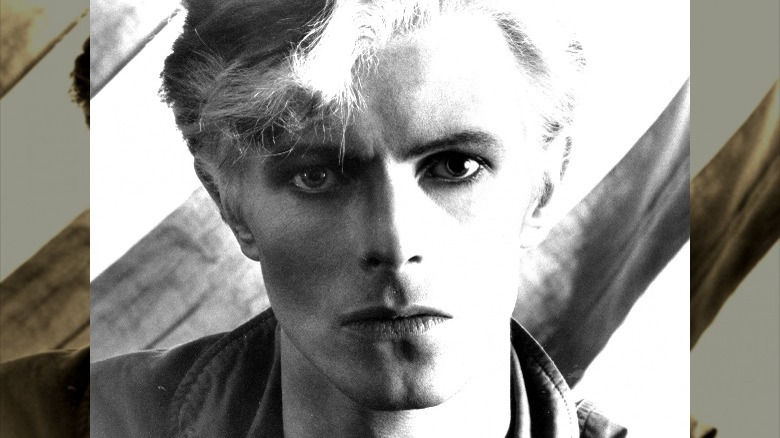 David Bowie looking forward intensely