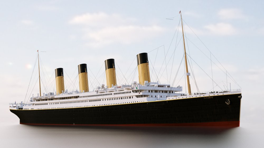 A colorized rendering of the R.M.S. Titanic.