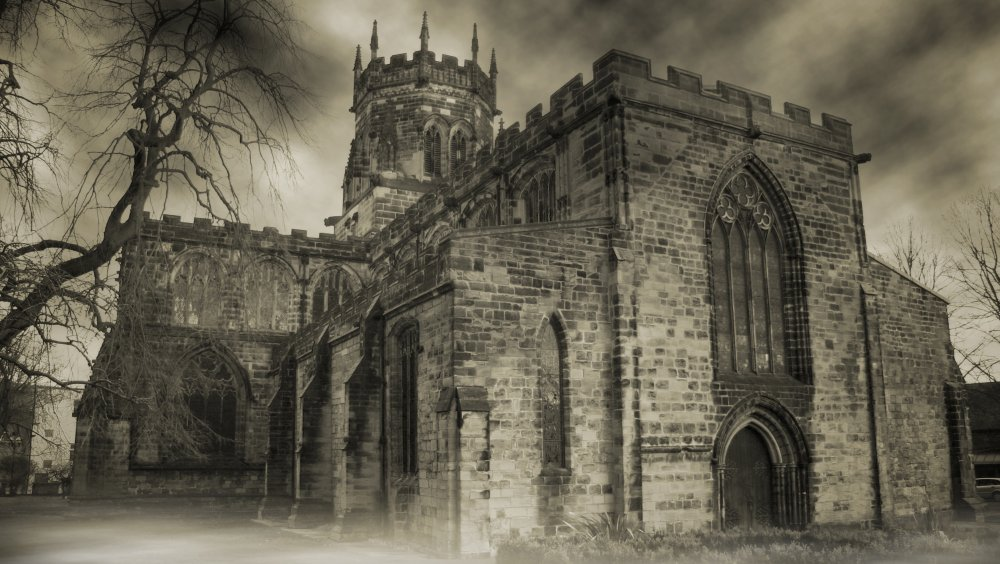 Creepy English church shrouded in fog