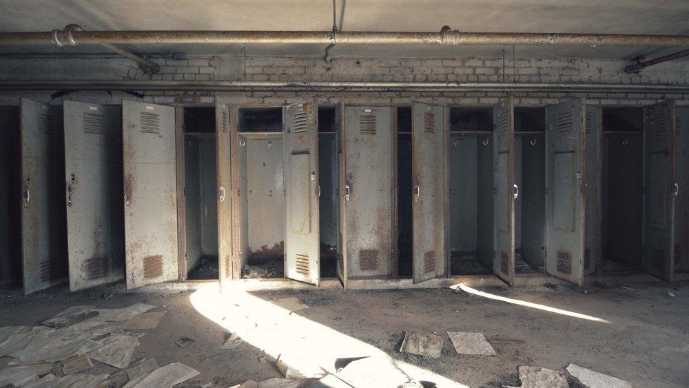 Abandoned school lockers