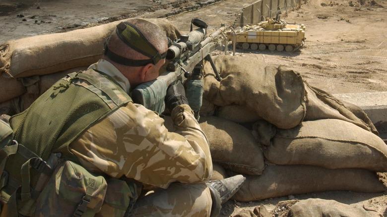 Sniper sighting a target in Iraq