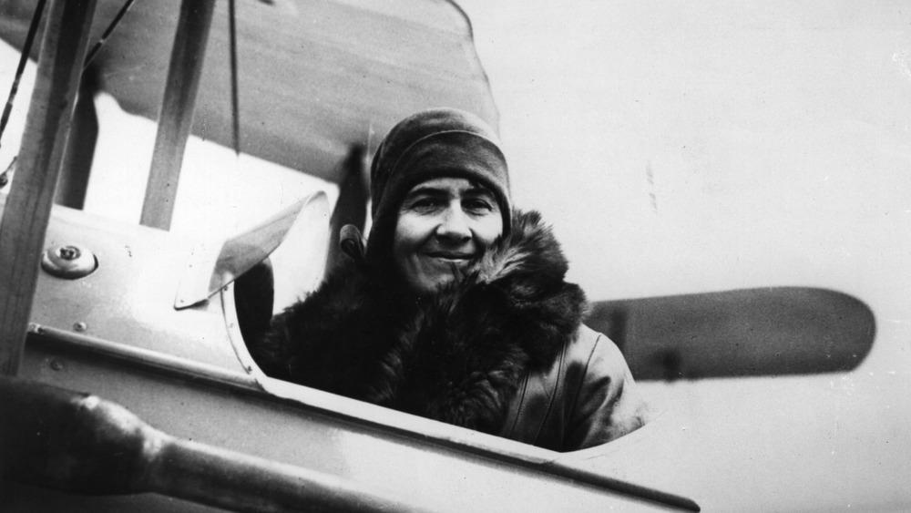 Mary Heath in airplane