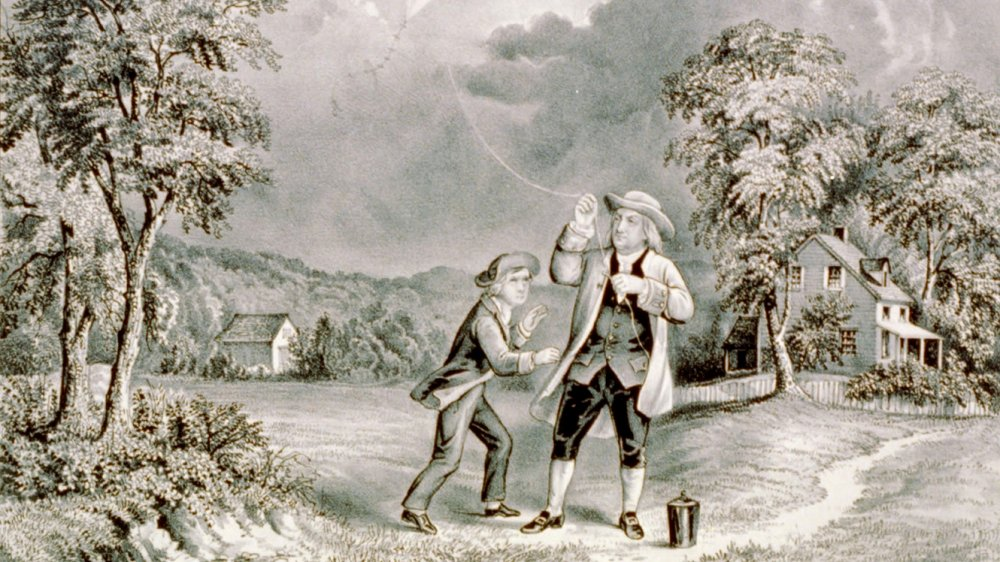 Currier and Ives print of Benjamin Franklin kite experiment