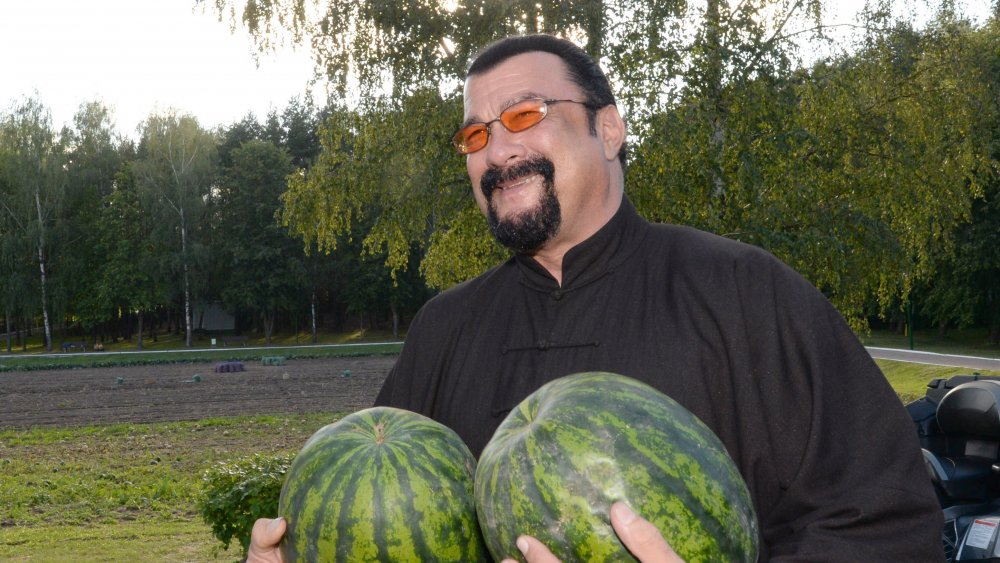 That's Steven Seagal holding some watermelons like they're his breasts, and it's very, very funny, Jim.