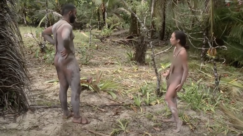 Naked contestants talking
