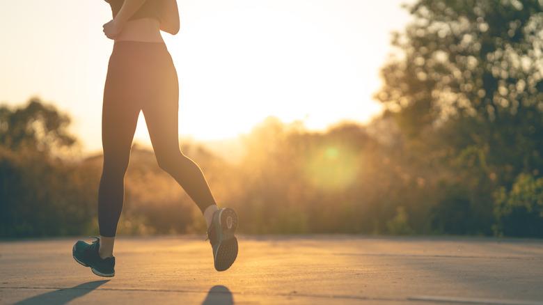 woman jogging alone