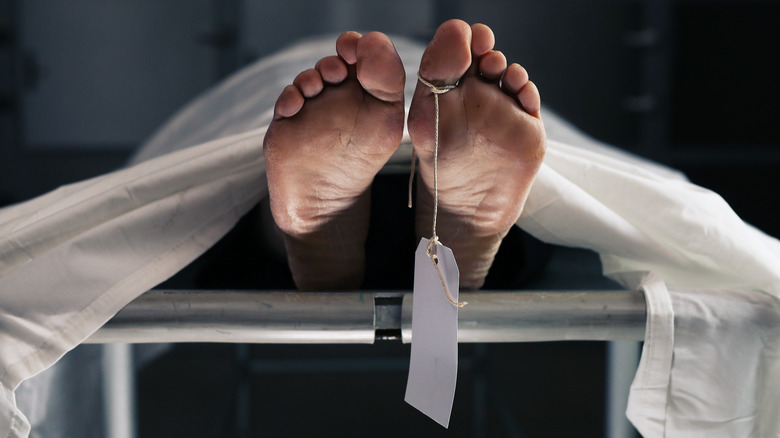 feet in a morgue