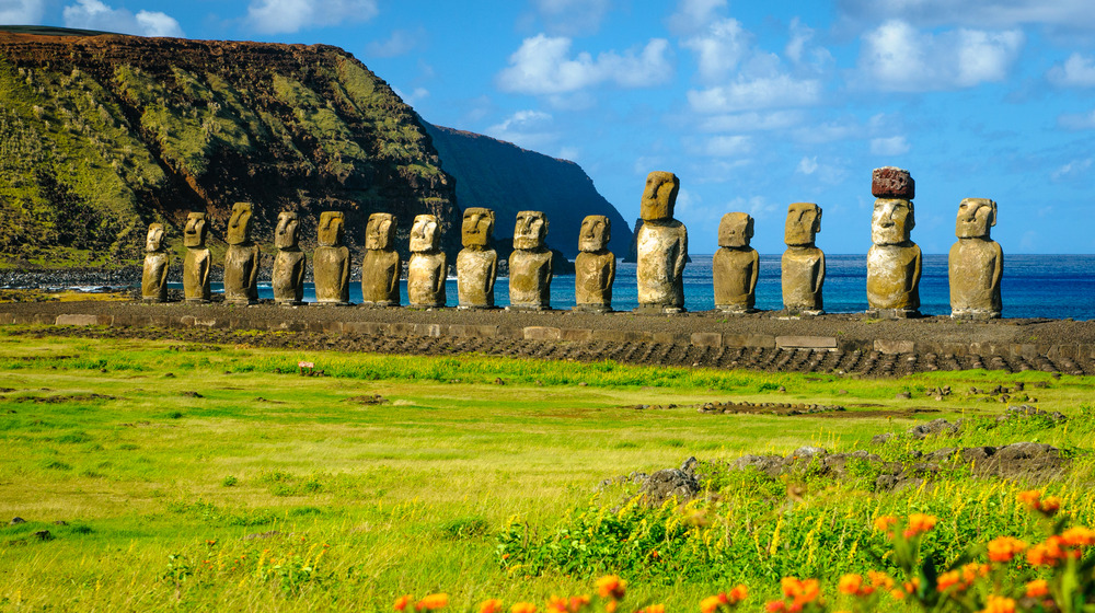 Moai at the shore of Easter Island