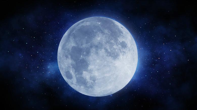 Earth's moon in night sky