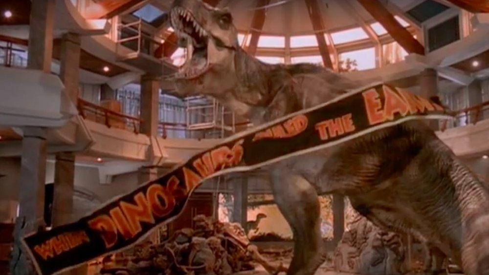 T-rex with banner, Jurassic Park