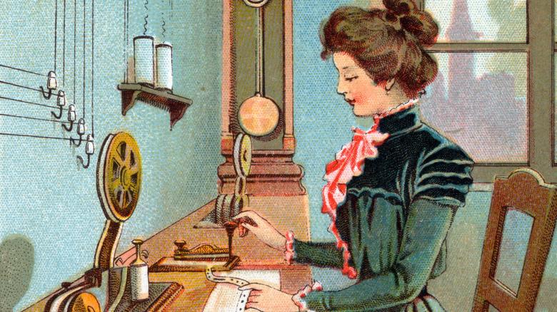 Woman sending telegram