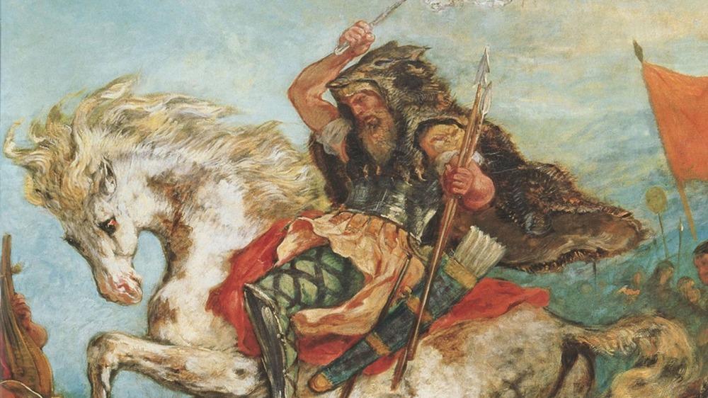 Painting of Attila in battle