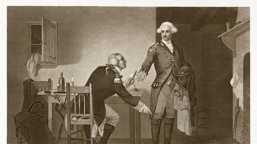 Benedict Arnold and George Washington - drawing.