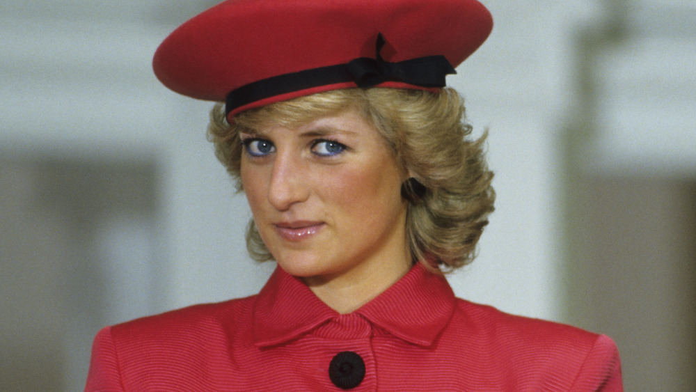 Princess Diana in red suit