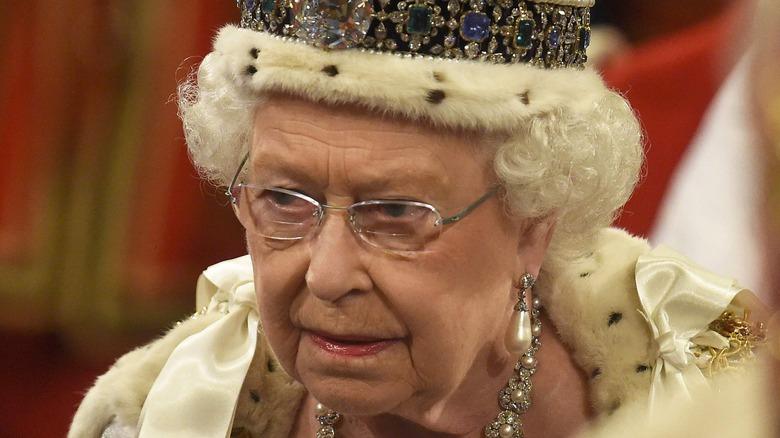 Queen Elizabeth II looking stern