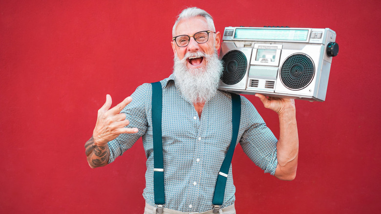 man with '80s boombox