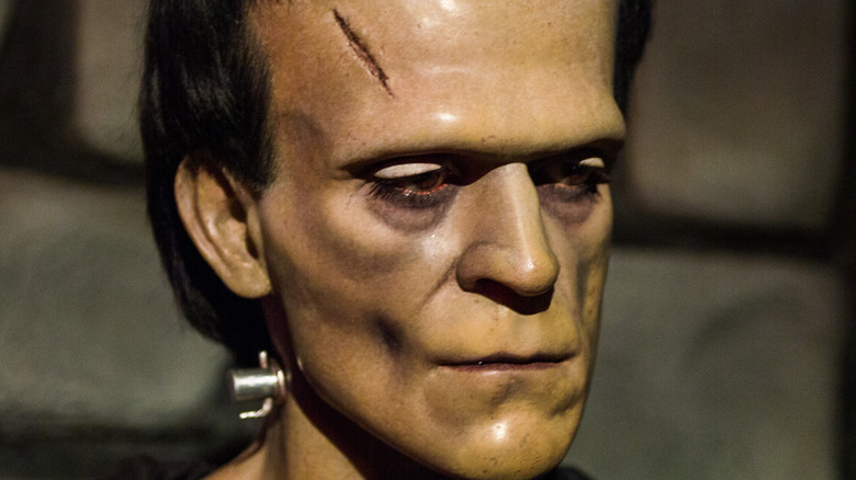 frankenstein monster wax statue in museum