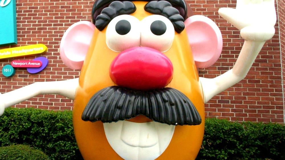 Mr Potato Head in front of building