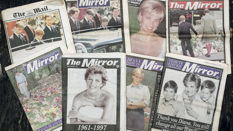 Newspapers featuring the late Princess Diana