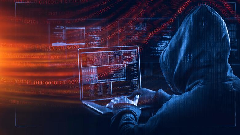 hacker in hooded sweatshirt