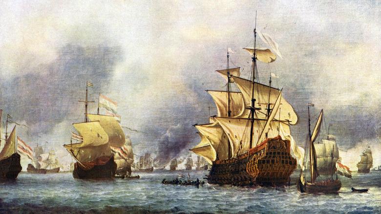 painting of ships at sea