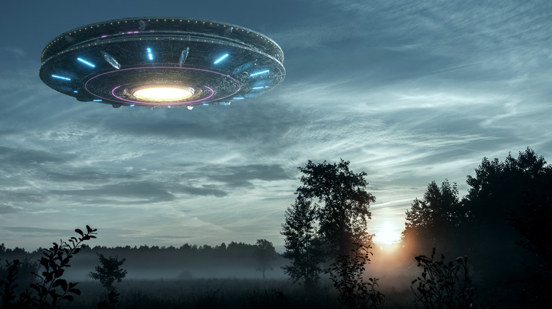 UFO hovering over field