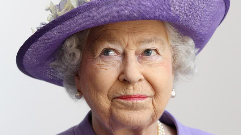 Queen Elizabeth II purple hat