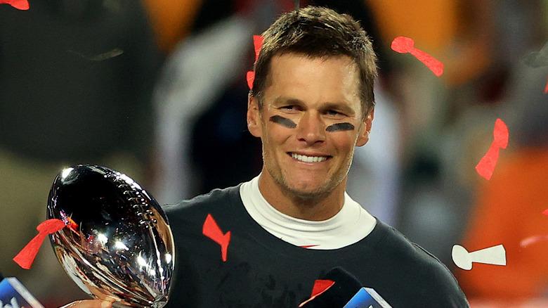 Tom Brady with the Lombardi Trophy