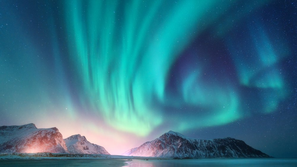 Green and purple aurora borealis over snowy mountains. Northern lights in Lofoten islands, Norway. Starry sky with polar lights. Night winter landscape with aurora, high rocks, beach. Travel. Scenery🔍