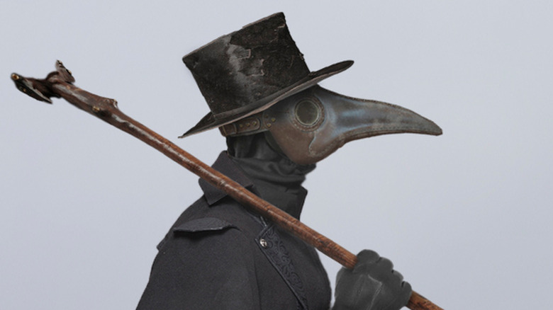 Plague doctor traveling the countryside