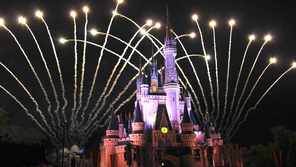 Disney castle and fireworks