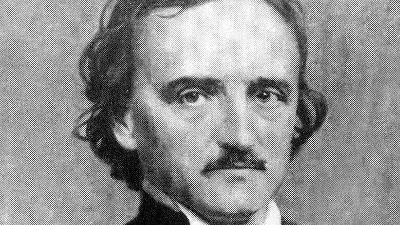 Edgar Allan Poe in black and white photo