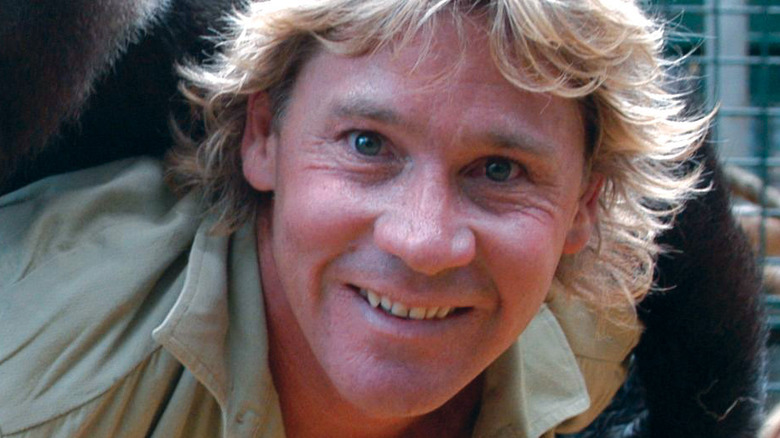 Steve Irwin with a gorilla