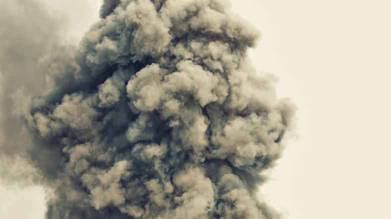 Bomb explosion cloud close up