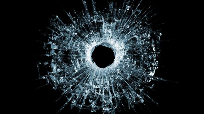gunshot damage to glass