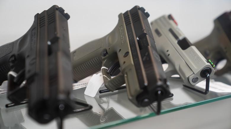 Guns on a shelf