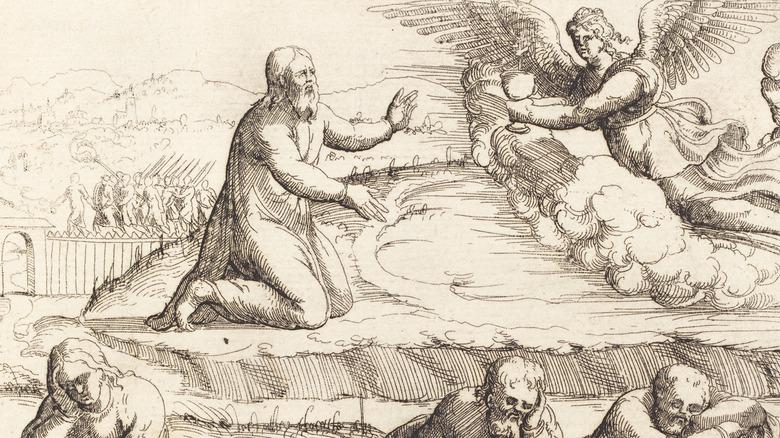 drawing of jesus praying