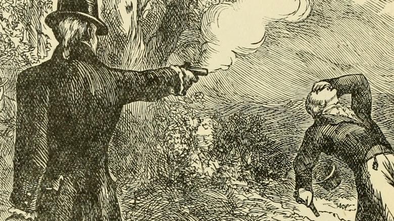Artist's drawing of duel between Alexander Hamilton and Aaron Burr