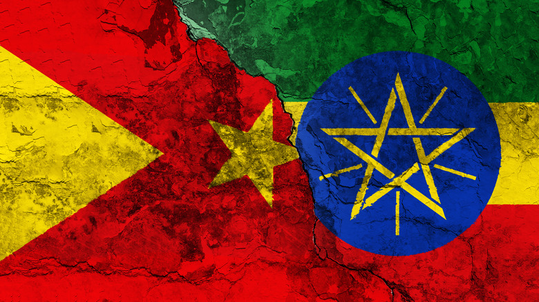 Ethiopian and TPLF flags