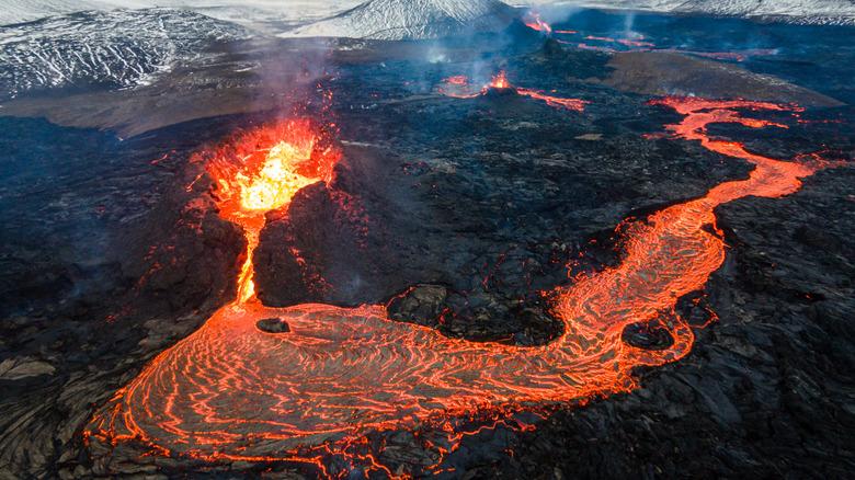 Iceland volcano eruption lava flow